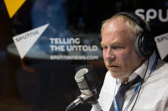 2645671 06/18/2015 Economist, journalist and author Frederick William Engdahl visits Radio Sputnik during the 19th St. Petersburg International Economic Forum. Igor Russak/RIA Novosti